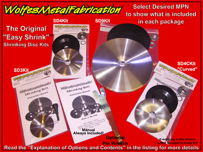 "The Original Shrinking Disc Kits! 3"", 4.5"" & 9"" Full Kit Options w/ backing pads"