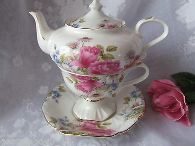 4Pc Roses Petite Tea For One Set -  Tp660