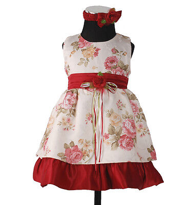 New Baby Cream&Burgundy Satin Party Dress with Headband,Bloomers 3-6 Months