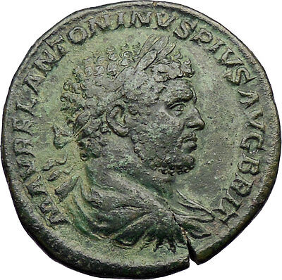 CARACALLA, 212AD. Authentic Ancient Roman Bronze Coin -Sestertius: Mars. Superb