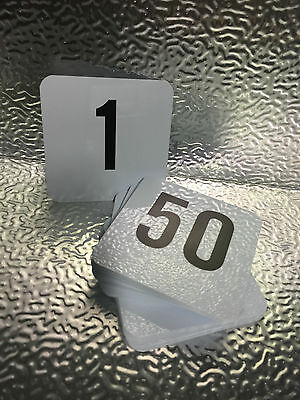 Table Number Set Of 1-50 Plastic Black On White Small
