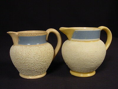 RARE 1800s PAIR of SMALL SANDED PITCHERS STAFFORDSHIRE YELLOW WARE