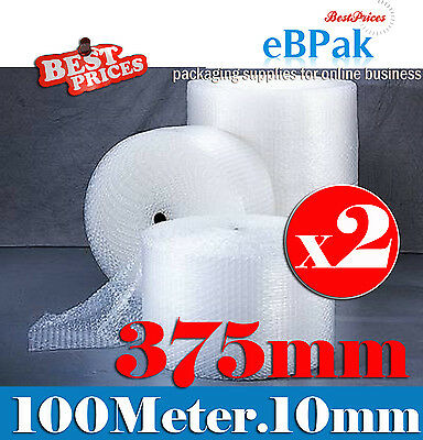 2 Rolls of 375mm x 100M Meter Bubble Cushioning Wrap Roll  - CLEAR 10mm Bubble