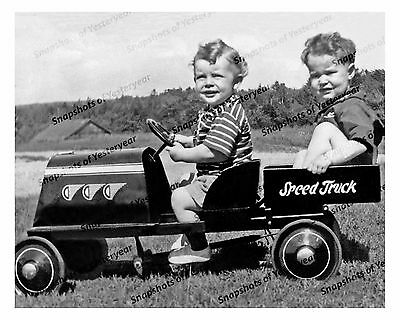 1920s era vintage photo-Two little boys-speed truck pedal car-8x10 in