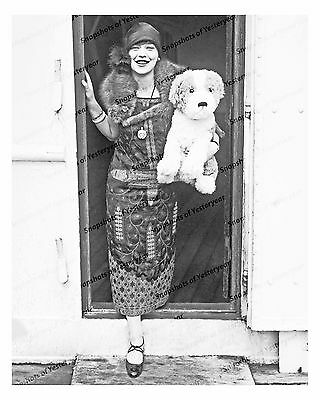1920s era vintage photo-Flapper woman holding large stuffed dog-8x10 in