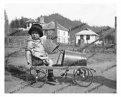 1910s era vintage photo-Little boy in hat riding pedal car-8x10 in