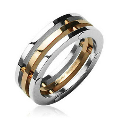 316L Surgical Stainless Steel Rings/3-Connected Pieces/IP Rose Gold Center