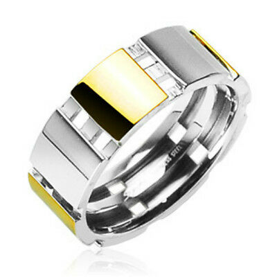 316L Surgical Stainless Steel Rings/IP Gold And Steel