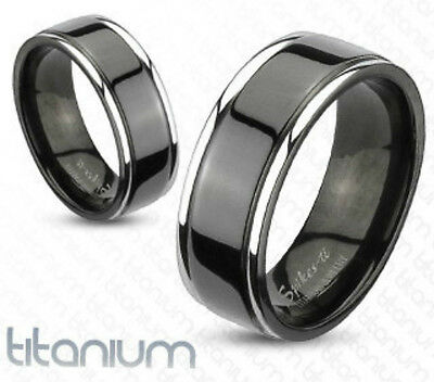 Solid Titanium 2-Tone Black IP Center Grooved Band Ring