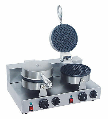 ACE Commercial DOUBLE ROUND WAFFLE BAKER GRILL MACHINE best price on ebay
