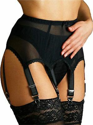 Plain Vintage Style Powermesh Suspender/Garter Belt, 4.6.8.10.12.14 Straps