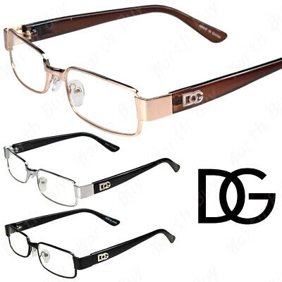 DG Mens Womens Clear Lens Rectangular Eye Glasses Fashion Full Rim Frame Retro