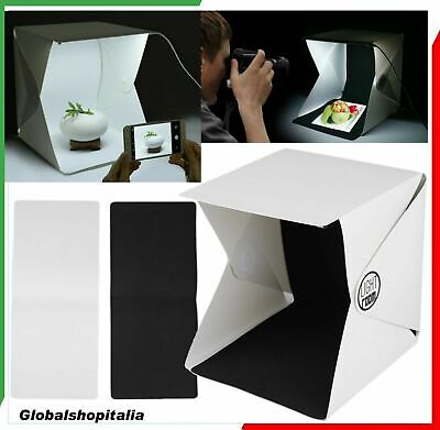 Mini Box Studio Fotografico Foto Cubo Illuminazione 20 Led Luce Tenda Sfondo Kit