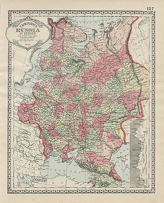 Russia Russian Map Hand Color Tunison Atlas Vintage 1889 Original Antique Map
