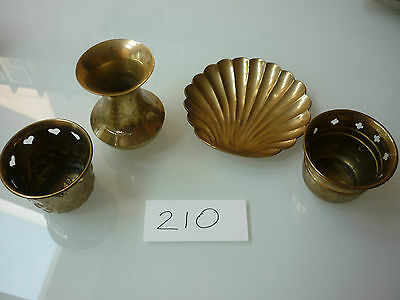 Vintage Junk Drawer Lot - 4 Brass Items Vase Scalloped Dish Candle Holders - 210