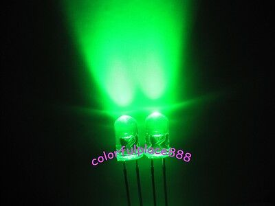100pcs, 5mm Green Round High Power Super Bright 15000MCD Water Clear LED Leds