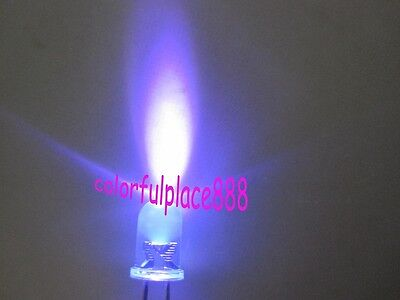 100pcs, New 5mm Purple Violet UV Round Bright Water Clear LED Leds Light Lamp