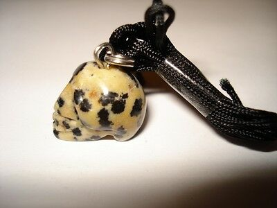 Natura Dalmation Jasper Gemstone Mini Skull Necklace
