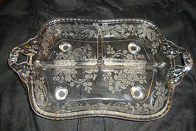 New Martinsville/Viking Glass Meadow Wreath Etch 3Prt Relish Tray Dish Near Mint