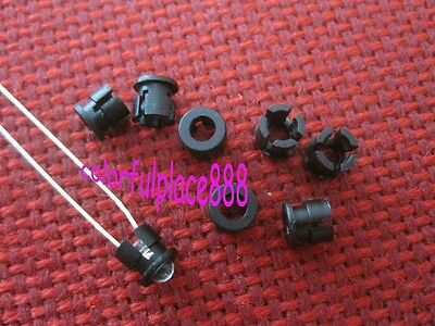 100pcs 3mm Black Plastic LED Bezel Clip Holder Cup Mounting Holders (Push Fit)