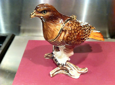 Red Tail Hawk  ~ Bejeweled Enamel Trinket Box #3385