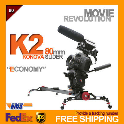 "konova Camera Slider K2 80cm 32"" track dolly option motorized & timelapse crank"