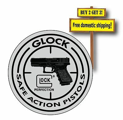 Glock 9mm Silver Decal/Sticker Safe Action Pistols Perfection on silver NRA p36