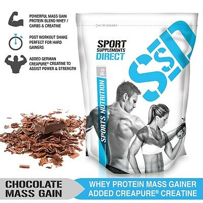 3Kg Chocolate Mass Gainer - 1:1 Whey Protein Carb Ratio Mass Gain With Creapure
