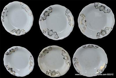 Lot of (6) Antique Butter Pats White Gilded Cameo Cross Section Pattern 3 1/8""