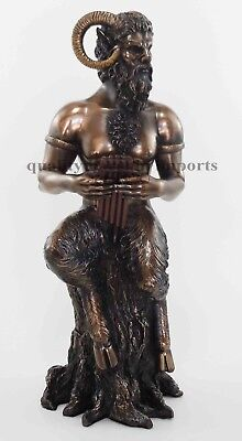 Greek Faunus Pan Statue Playing Flute God of Hunts Companion of Nymphs Damsels