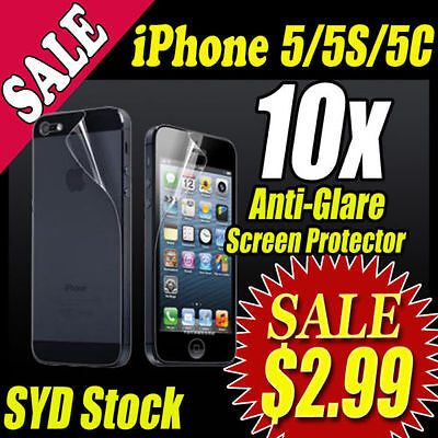 10x IPHONE 5 iPhone5 FRONT AND BACK SCREEN PROTECTOR - CLEAR PACK