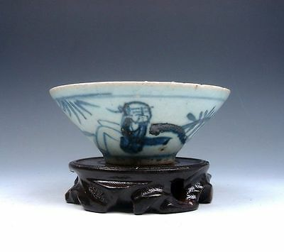 """*Ship From U.S* Antique 19th Century Blue&White Painted """"Bamboo Hat"""" Shaped Bowl"""