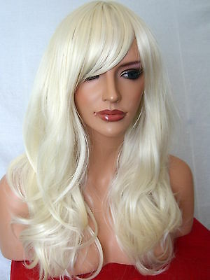Bleach Blonde Wig Women Fashion Wig Long Curly halloween natural Ladies Wig A5