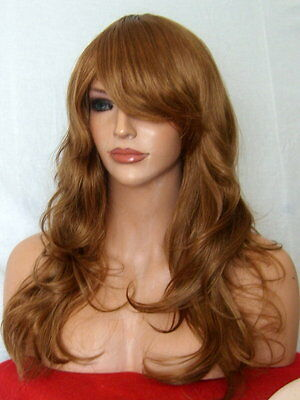 Light Brown Auburn Ginger Wig Long natural party full lady ladies wavy wig P10
