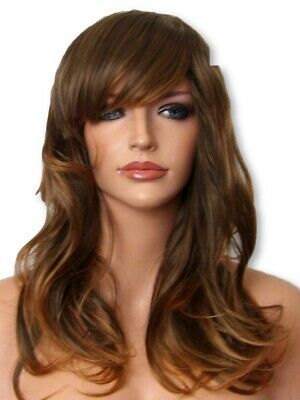Light Brown Ombre curly wavy Fashion natural full head party Ladies Hair WIGS F3