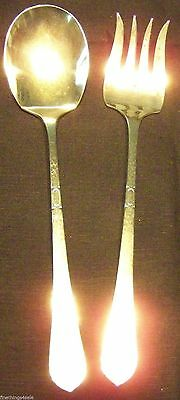 Pounded Arts & Crafts Classic Style Massive Salad Serving Silver Set Fork Spoon