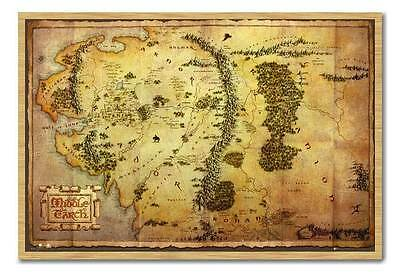 Framed The Hobbit Movie Map Poster Ready To Hang Frame