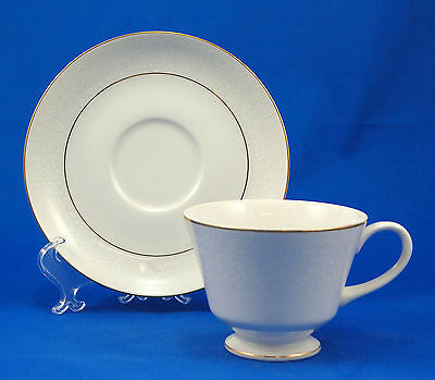 Norleans WHITE LACE Footed Cup and Saucer Set 2.75 in. Flowers Scrolls on White