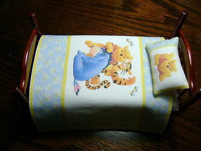 Dolls House Bedding - Winnie The Pooh Bed Spread and Matching Pillow