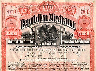 HUGE MINT MEXICO 1890 EXTERNAL LOAN SPECIMEN All 60 Coups! ONLY 1 KNOWN cv $2500