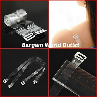 Clear Transparent Bra Straps Invisible Detachable Adjustable Metal Hook 1 Pair