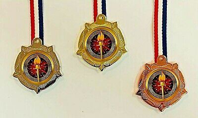 1 X Bronze + Silver + Gold Olympic Metal Medals with Ribbons & FREE P+P