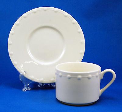 Oneida Casual Settings EVENING PEARL Flat Cup and Saucer Set 2.5 in. White Dots