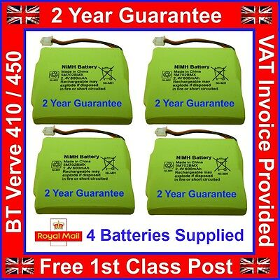 4 x BT Verve 450/410 Quad Cordless Phone Batteries GP 5M702BMX NiMH 2.4v 600mAh