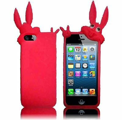Apple iPhone 5- Cute Rabbit Silicone Cover- Hot Pink