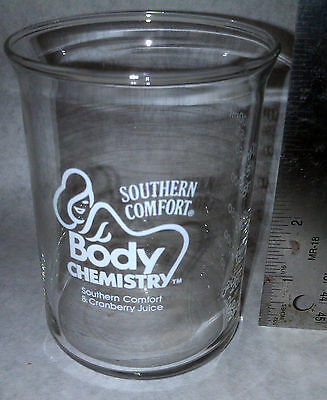 Southern Comfort & Cranberry body chemistry Juice Beaker Glass rare collectible