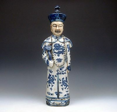 *Ship From U.S* Vintage Blue&White QingHua Hand Painted Large Emperor Statue 14""