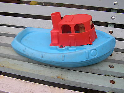 VINTAGE BLUE & RED PLASTIC TOY BOAT SHIP