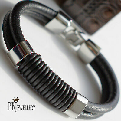 Mens Braided Leather Surfer Wristband Bracelet