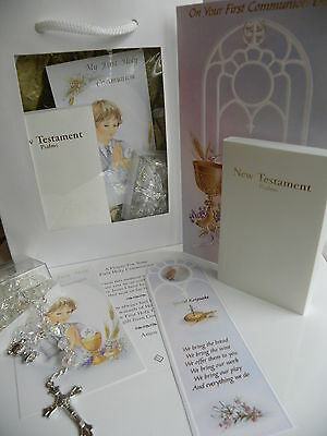 FIRST HOLY COMMUNION Boy's GIFT SET Bible CRYSTAL Rosary Beads PRAYER CARD